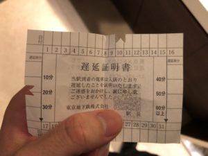 東京メトロの遅延証明書が厳しい件について